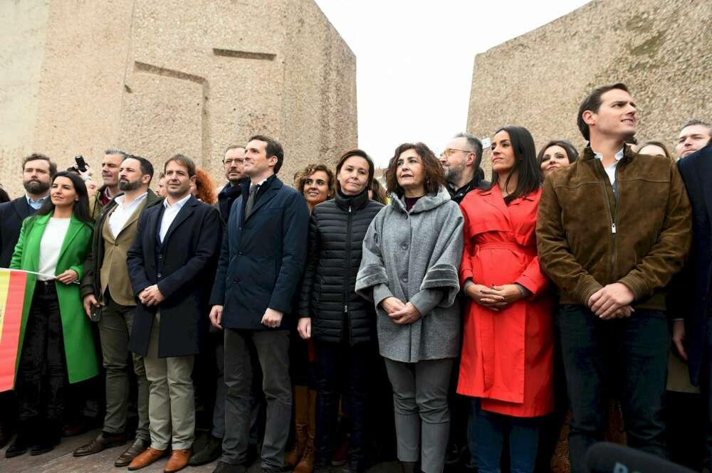 Feijóo, Juanma Moreno y Mañueco plantan a Casado en Colón