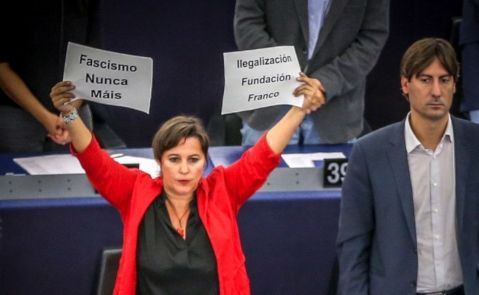 La eurodiputada del BNG, Ana Miranda, en el Parlamento Europeo