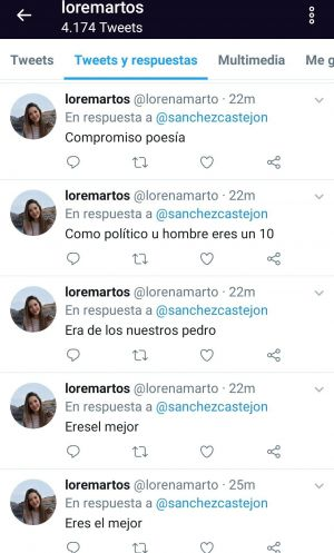 Mensajes a Pedro Sánchez de un trol del PSOE en Twitter