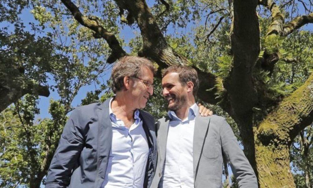 Pablo Casado ensaya la estrategia de Feijóo para revalidar la Xunta