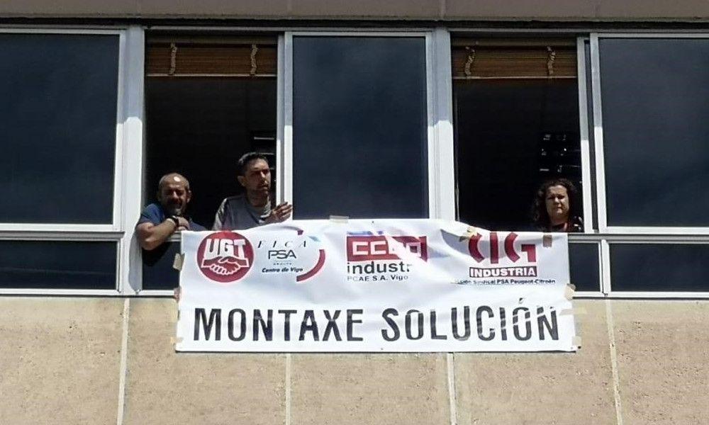 Encierro de trabajadores en las oficinas de PSA en Vigo