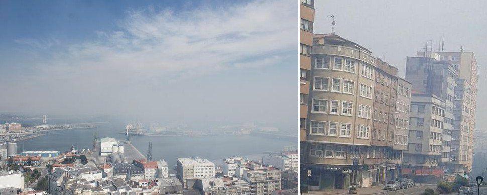 El incendio de Bens encierra A Coruña en una nube de humo