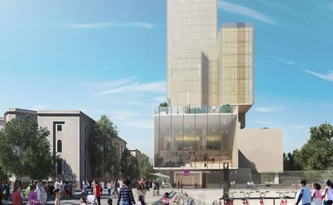 Plaza y torre de edificios proyectados para la Cetram de Chapultepec