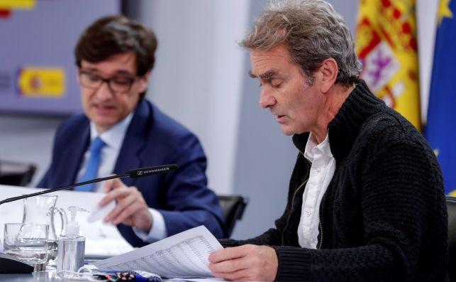 Salvador Illa y Fernando Simón en una rueda de prensa el 22 de octubre de 2020. El Ministerio de Sanidad ha detectado una campaña de emails fraudulentos que suplantan su identidad   EFE/EN/Archivo