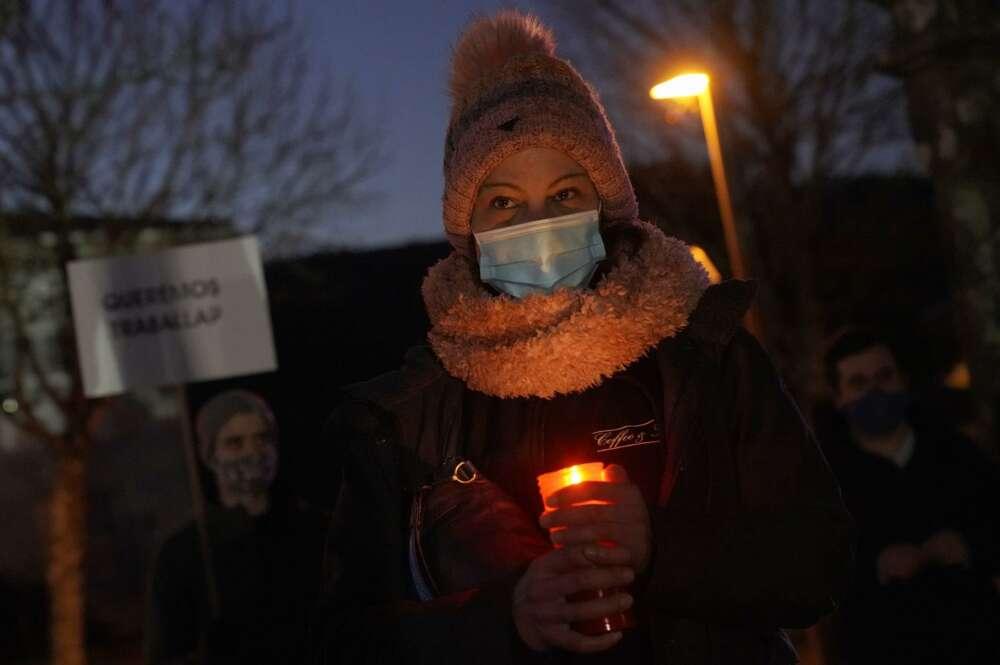Hosteleros protestan ante la residencia oficial del presidente de la Xunta en Monte Pío