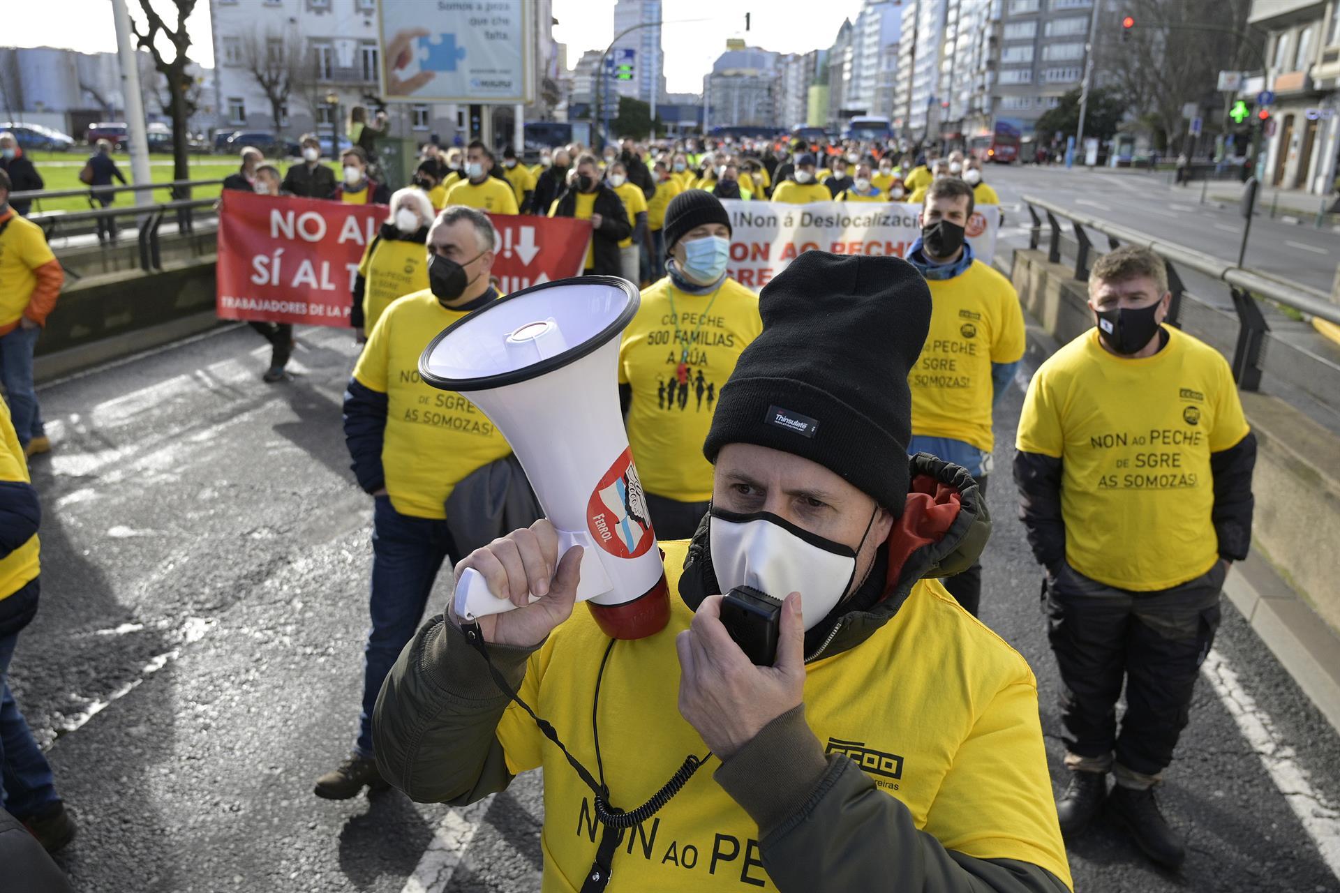 Imagen de la manifestación de trabajadores de Siemens Gamesa, Endesa y Alu Ibérica en A Coruña