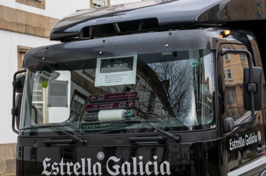Los camiones de Estrella Galicia se suman a la caravana de protestas de la hostelería