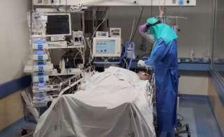 Un paciente de Covid en un hospital