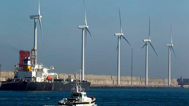 Eólicos en el puerto de Bilbao