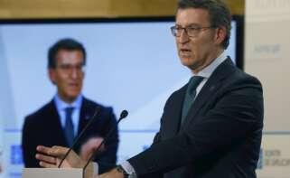 El presidente de la Xunta, Alberto Núñez Feijóo, durante una rueda de prensa en Santiago de Compostela. EFE/Lavandeira jr