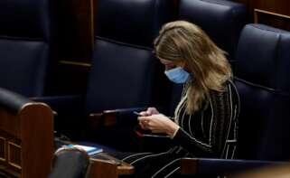 Pedro Sánchez ha abierto la puerta a que la ministra de Trabajo, Yolanda Díaz, asuma la vicepresidencia que deja Pablo Iglesias. EFE/Chema Moya