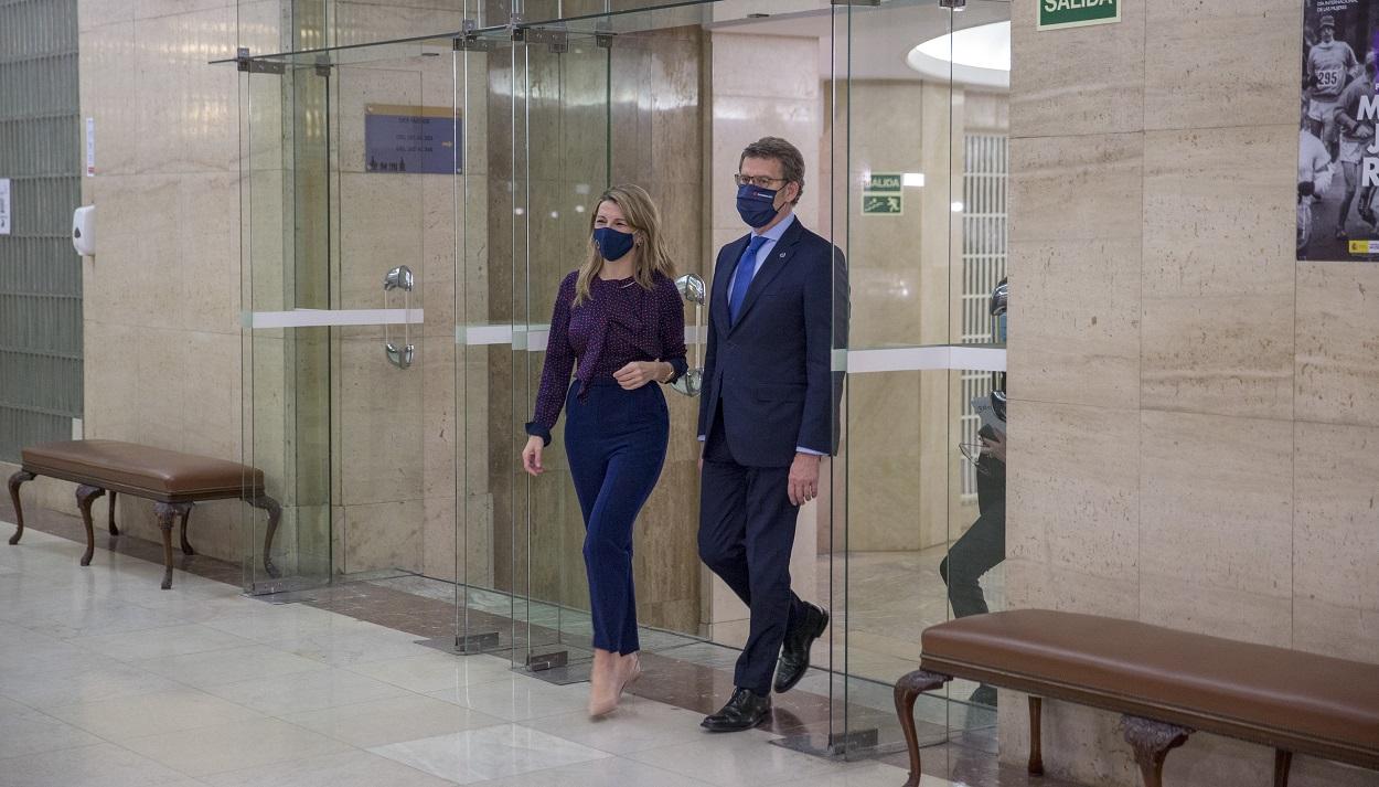 Yolanda Díaz y Alberto Núñez Feijóo en un encuentro en el Ministerio de Trabajo. Foto: Ministerio de Trabajo