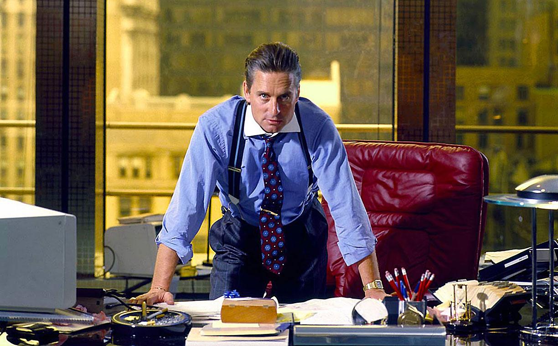 Michael Douglas en la película Wall Street, de Oliver Stone