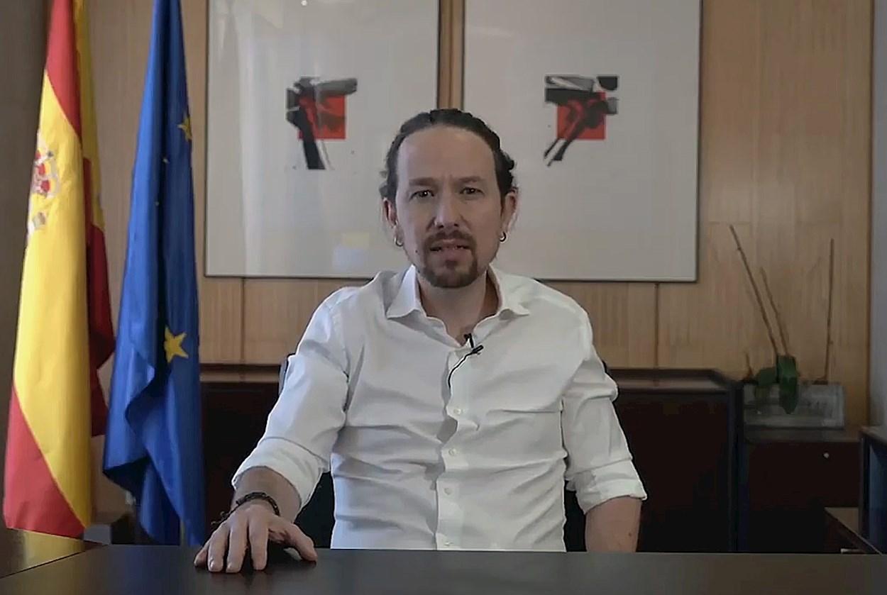 Pablo Iglesias en una imagen del video con el que anunció su salida del Gobierno para concurrir a los comicios autonómicos por Madrid. Efe