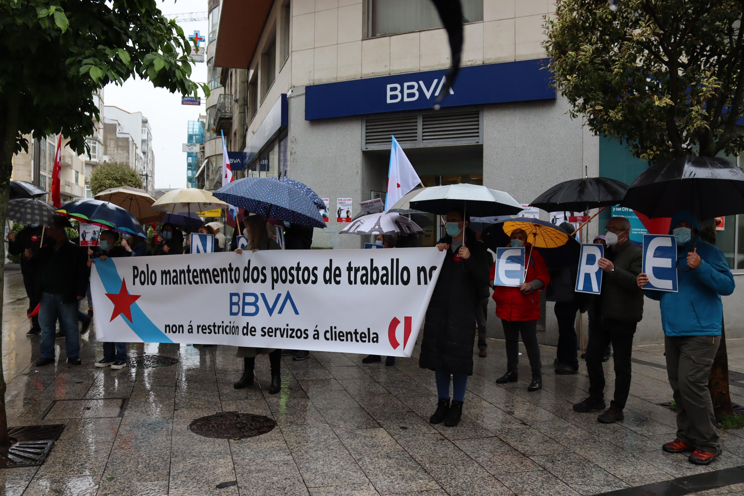 Protesta de los trabajadores de BBVA en Vigo / CIG