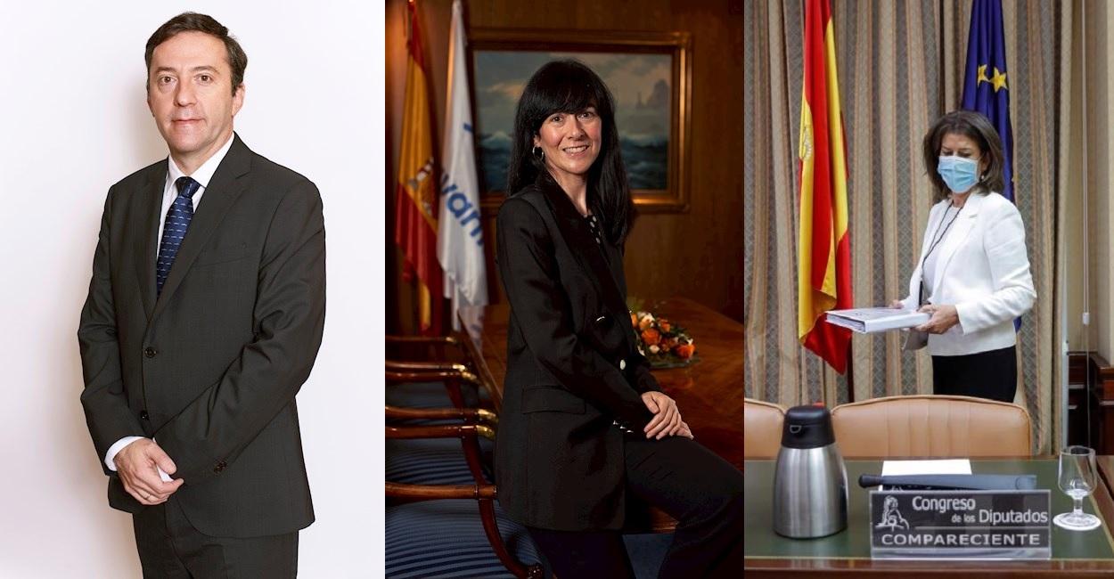 Ricardo Domínguez, Belén Gualda y Susana de Sarriá, presidente y expresidentas de Navantia. Fotos: EFE