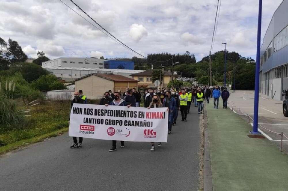 """Protesta de los trabajadores del antiguo grupo Caamaño bajo el lema """"No a los despidos en Kimak"""""""