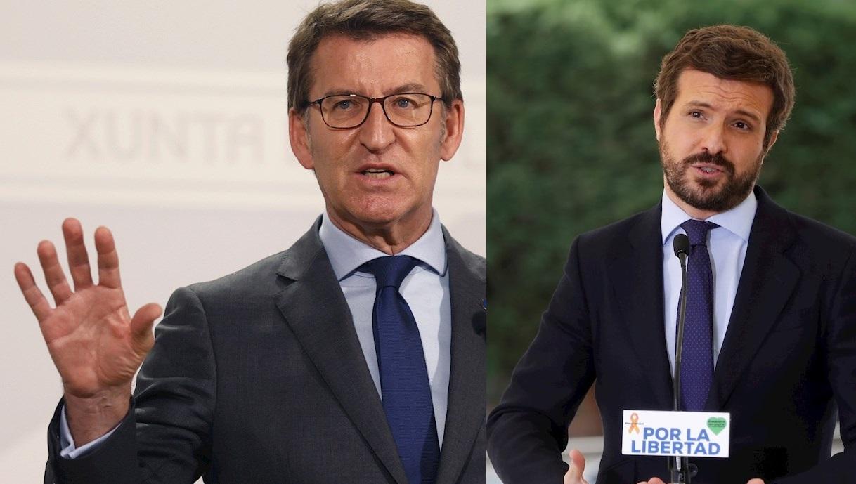 El presidente de la Xunta, Alberto Núñez Feijóo, y el del Partido Popular, Pablo Casado: Fotos: EFE