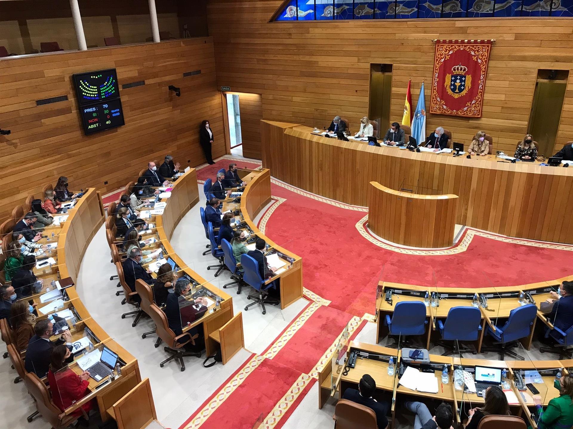 Votación de la proposición de ley para su debate en el Congreso de los Diputados. El PPdeG se abstiene y BNG y PSdeG votan a favor de la tramitación de la normativa, que deberá llegar a la Cámara Baja. - EUROPA PRESS