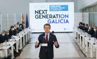 El presidente de la Xunta, Alberto Núñez Feijóo, participa en el Foro Next Generation Galicia Movilidad Sostenible. EFE/Lavandeira Jr.
