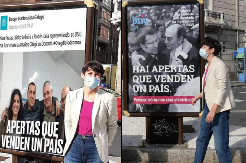 A la derecha, campaña del BNG contra la subida de la tarifa eléctrica, a la izquierda, montaje en las redes del PPdeG