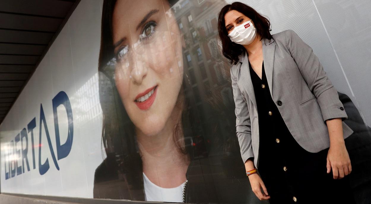 La presidenta madrileña en una imagan de la campaña electoral de las autonómicas del 4 de mayo. EFE/ Mariscal