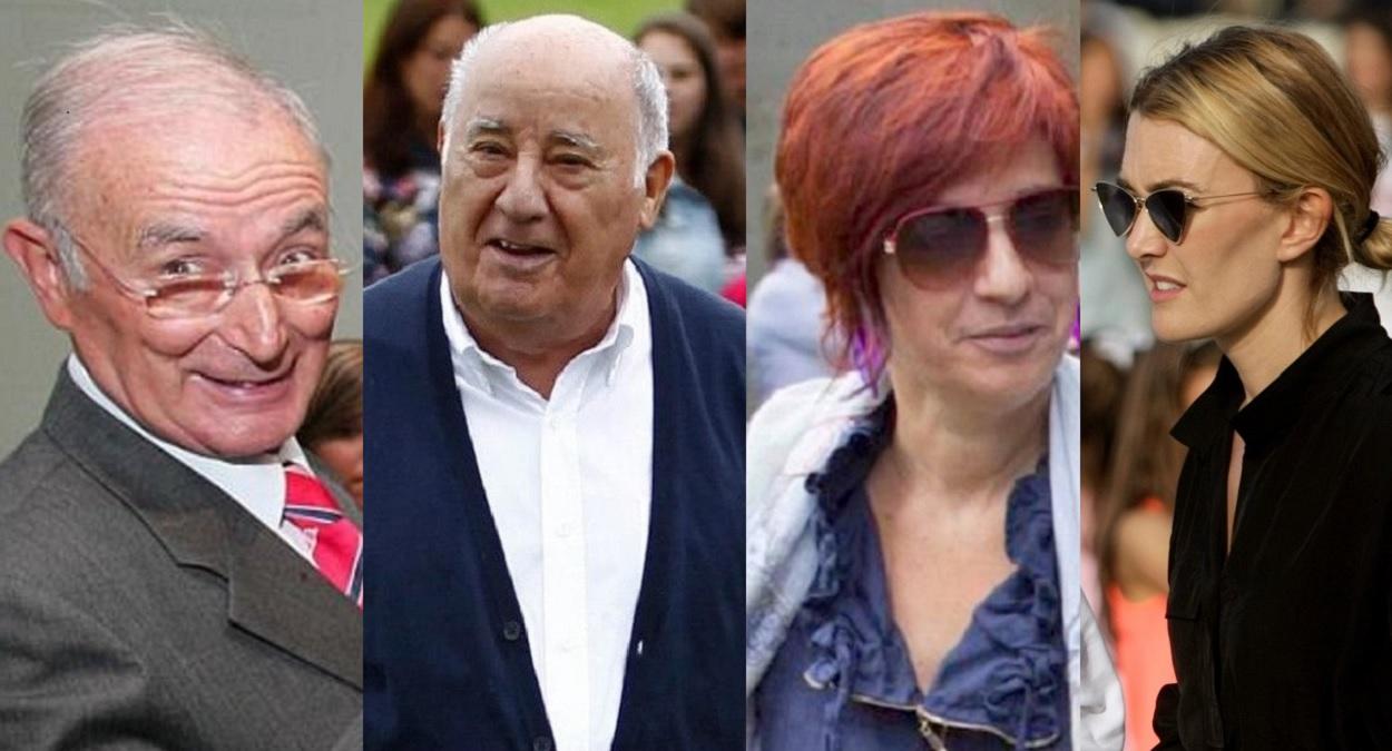 Luis Fernández Somoza, Amancio Orterga, Sandra Ortega y Marta Ortega. Fotos de archivos: EFE