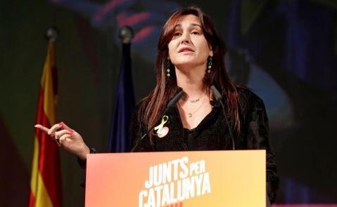 Laura Borràs durante el mitin de JPC en Barcelona. Foto: EFE/SS