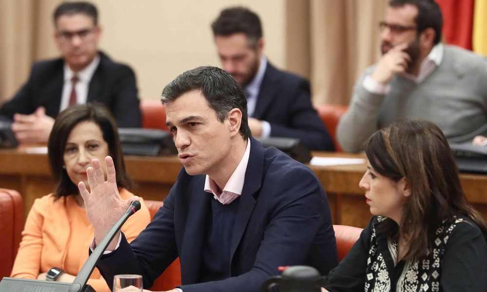 el secretario general del psoe pedro sanchez durante la reunion que el grupo par