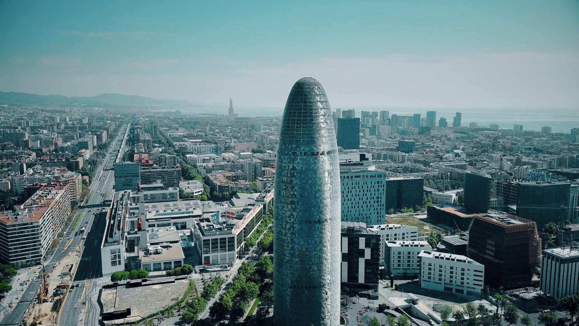 videoblocks barcelona spain april 15 2017 famous torre agbar skyscraper city and