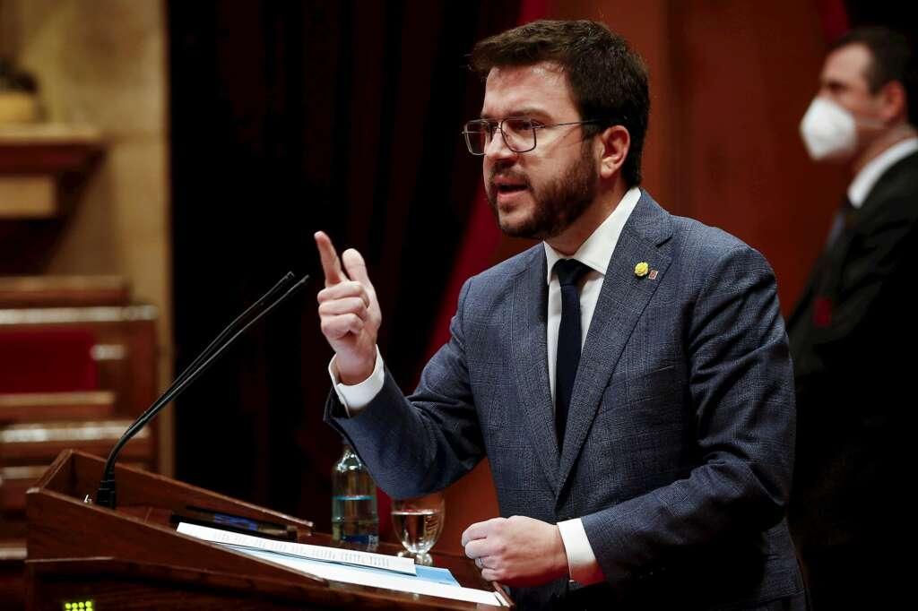 El vicepresidente del Govern en funciones de presidente y candidato de ERC a la Generalitat, Pere Aragonès, durante una intervención ante la diputación permanente del Parlament, el 20 de enero de 2021 | EFE/QG