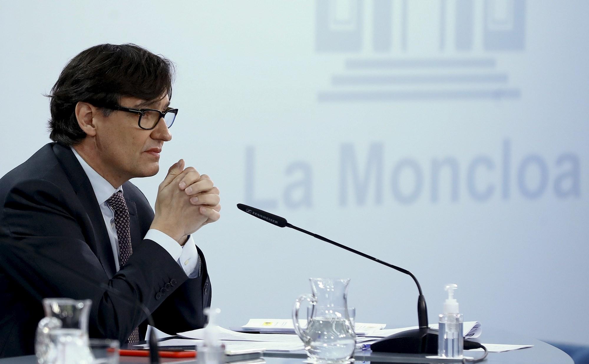 El ministro de Sanidad y candidato del PSC a las elecciones catalanas, Salvador Illa, durante una rueda de prensa del Gobierno el 12 de enero de 2021 | EFE/Ballesteros