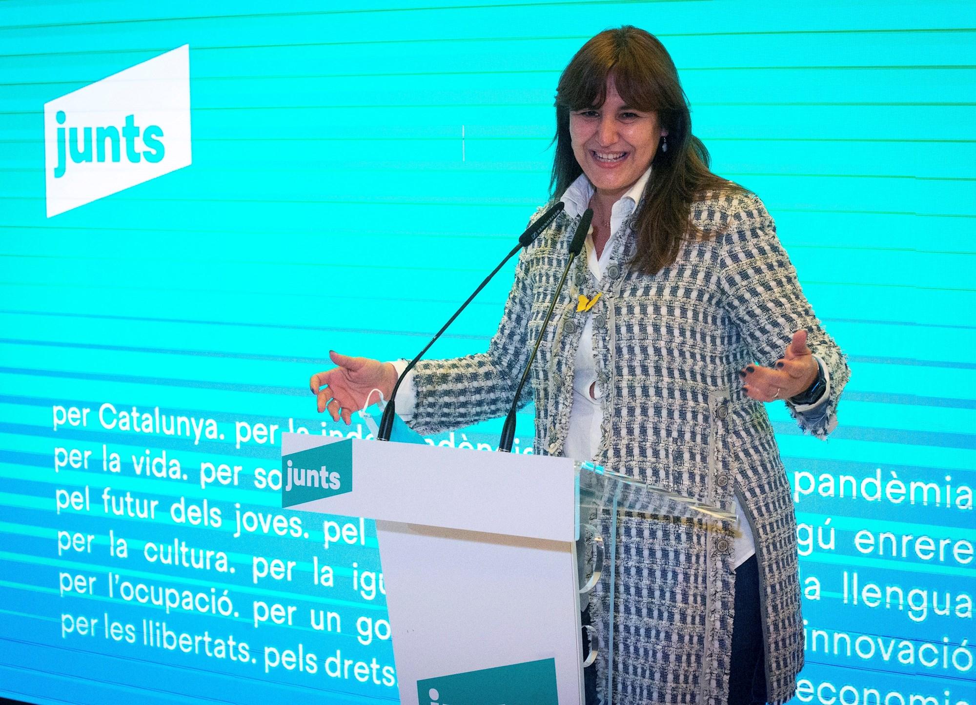 La candidata de JxCat, Laura Borràs, en un acto de la campaña del 14-F en Mataró, el 1 de febrero de 2021 | EFE/EF