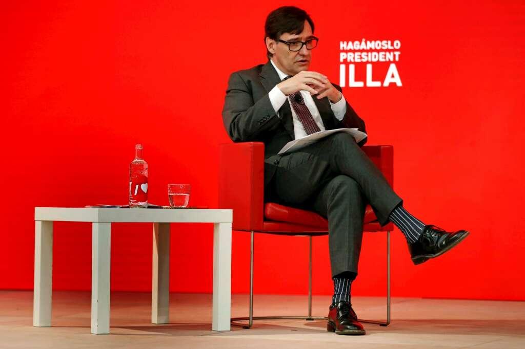El candidato del PSC, Salvador Illa, durante un acto electoral en Barcelona, el 4 de febrero de 2021 | EFE/TA