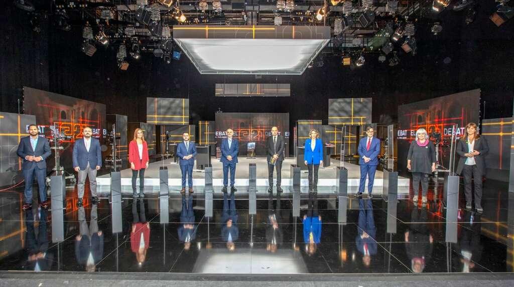 Los nueve candidatos de los principales partidos que concurren a las elecciones catalanas del 14-F, en el debate del 9 de febrero de 2021 en TV3 | CCMA