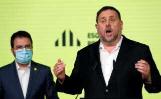El presidente de ERC, Oriol Junqueras, y el candidato del partido al 14-F, Pere Aragonès, comparecen para valorar los resultados de las elecciones catalanas del 14 de febrero de 2021 | EFE/AE