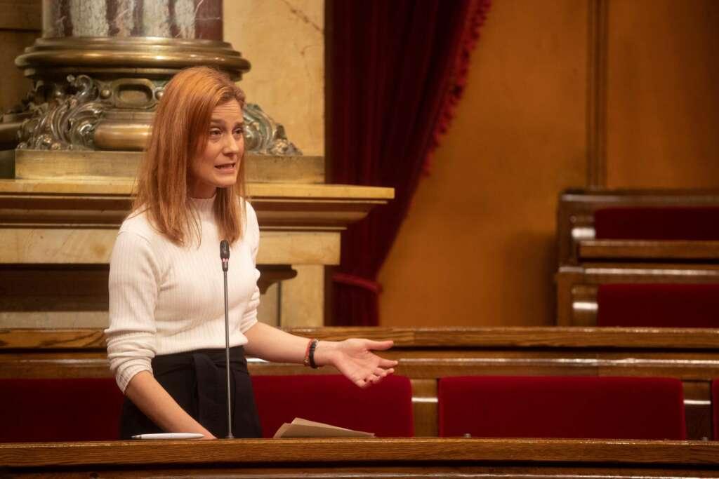 La líder de En Comú Podem, Jéssica Albiach interviene en la sesión de la Diputación Permanente del Parlament