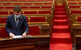 El vicepresidente de la Generalitat, Pere Aragonès, en el Parlament de Cataluña, el 3 de marzo de 2021 | EFE/QG