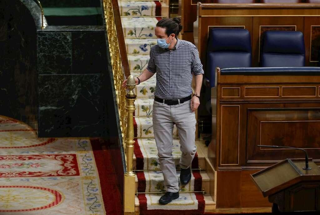 El vicepresidente segundo del Gobierno, Pablo Iglesias, durante su última participación en un pleno del Congreso como vicepresidente segundo del Gobierno, el 24 de marzo de 2021   EFE/CM