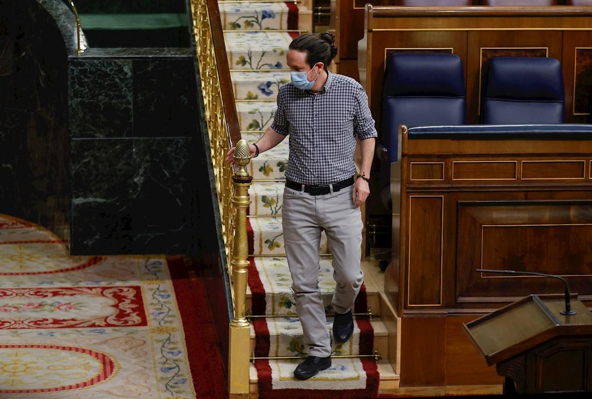 El vicepresidente segundo del Gobierno, Pablo Iglesias, durante su última participación en un pleno del Congreso como vicepresidente segundo del Gobierno, el 24 de marzo de 2021 | EFE/CM