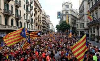 Manifestación de la Diada de 2021 en la Via Laietana de Barcelona. EFE/Quique Garcia