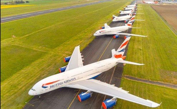 A380 aparcados Foto Daily Post Wales