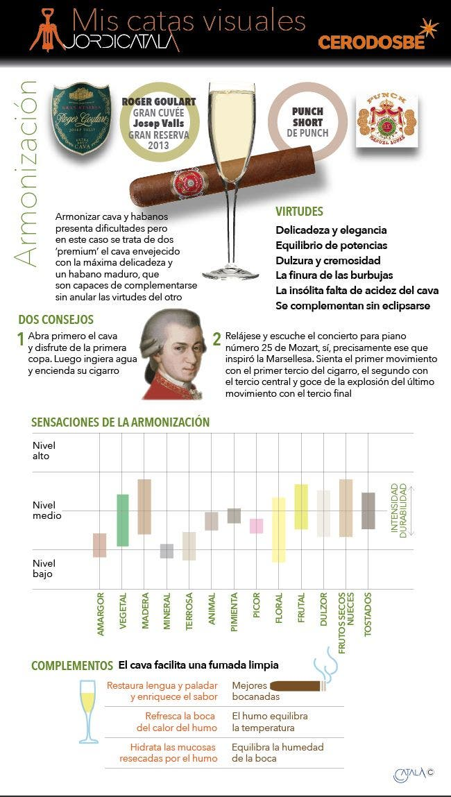 ArmonizacioÌn habanos y cava. InfografiÌa Jordi CatalaÌ.