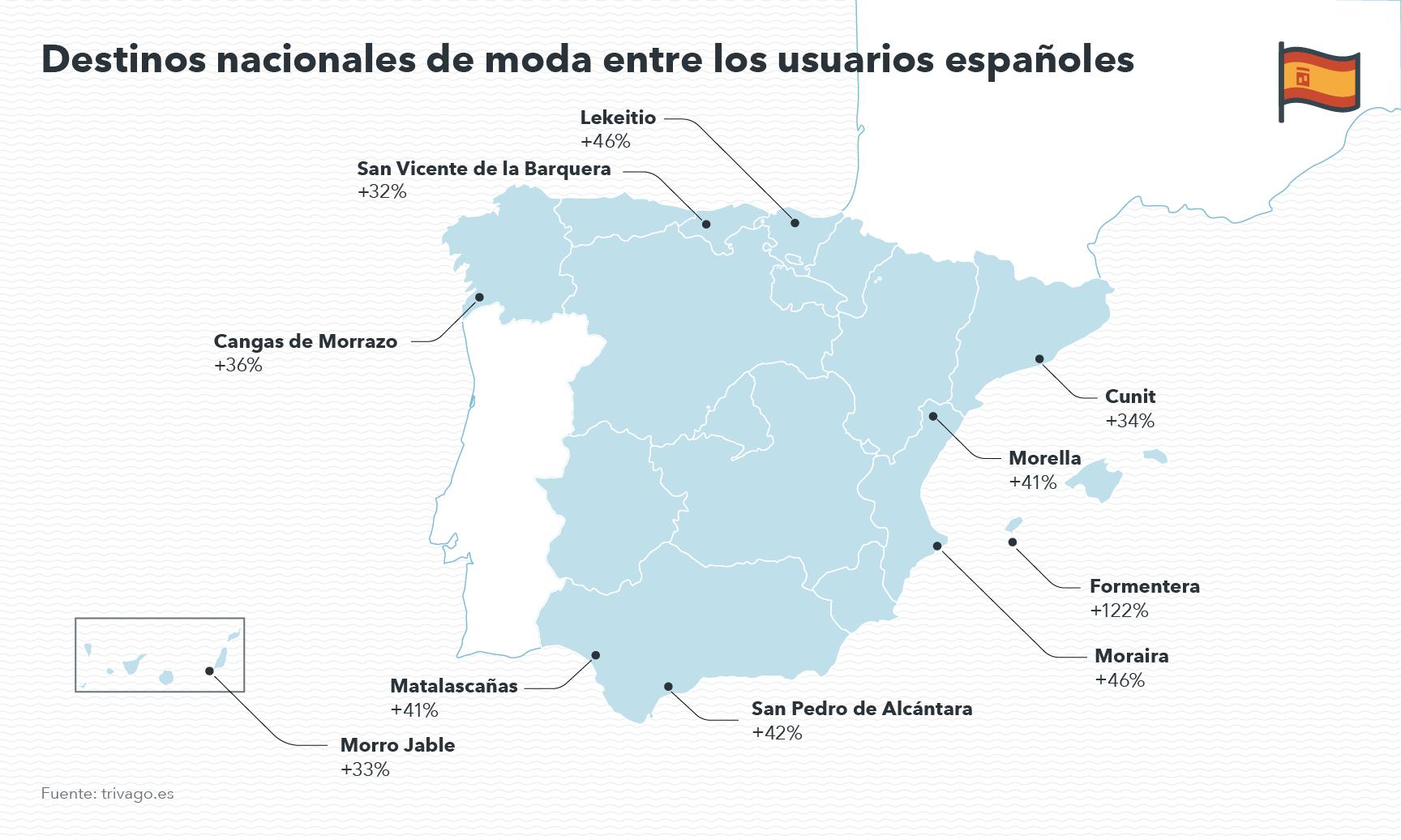 Mapa de España de nuevos destinos.