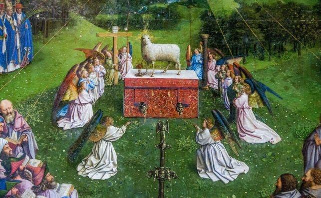Detalle del Cordero MiÌstico de Van Eyck. Foto: Stephanie Lecocq| EFE.