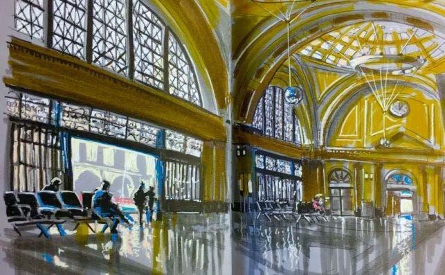 Estacion de Francia IlustracioÌn Juan Linares