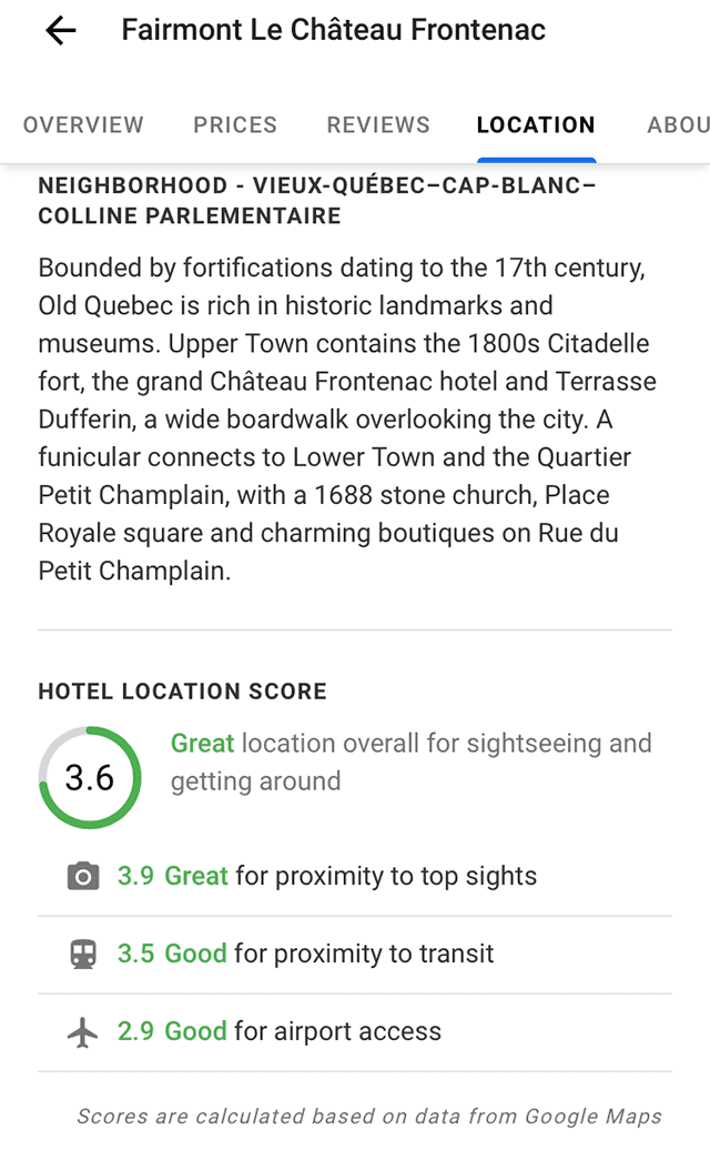 google location location score