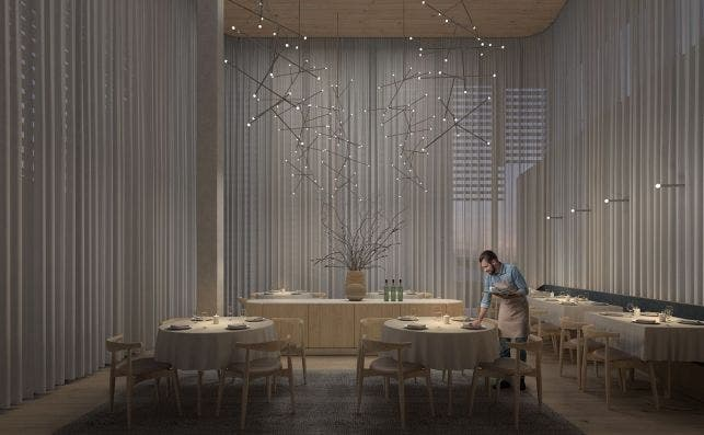 Hotel Audermars Piguet Restaurante. Foto Bjarke Ingels Group.