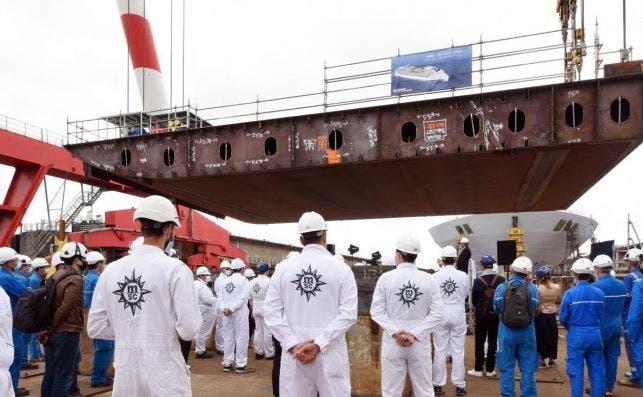 keel laying msc world europa at chantiers de latlantique