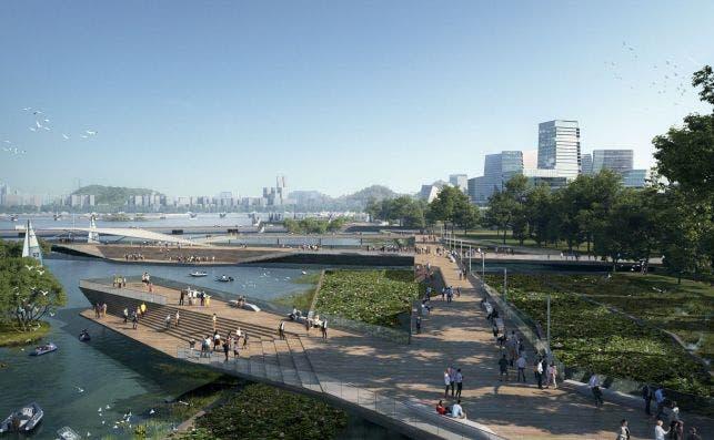 Net City priorizaraÌ el transporte puÌblico. Imagen NBBJ